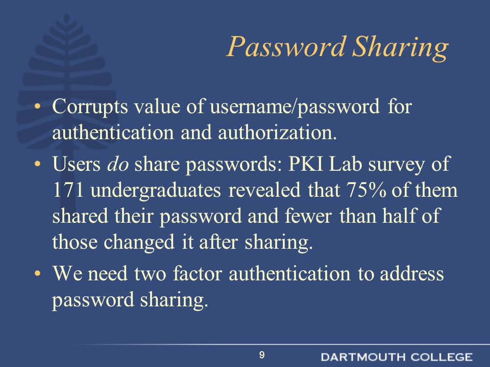 9 Password Sharing Corrupts value of username/password for authentication and authorization.