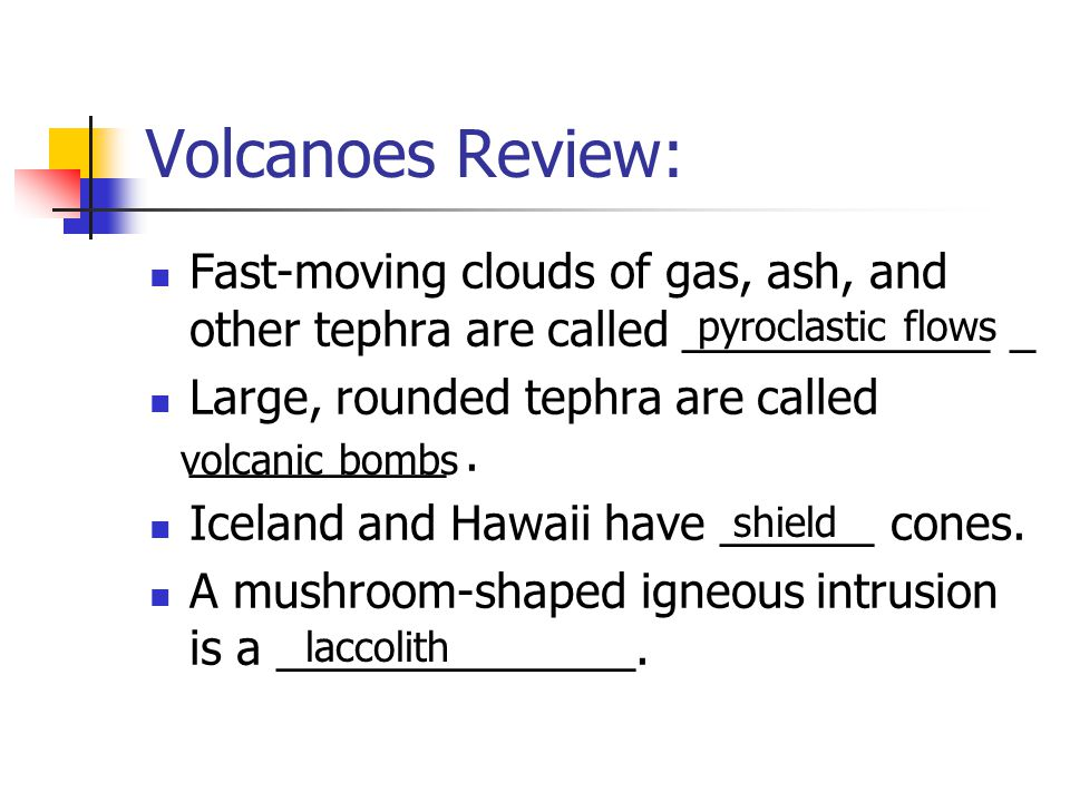 Volcanoes Review: Fast-moving clouds of gas, ash, and other tephra are called ____________ _ Large, rounded tephra are called __________. Iceland and