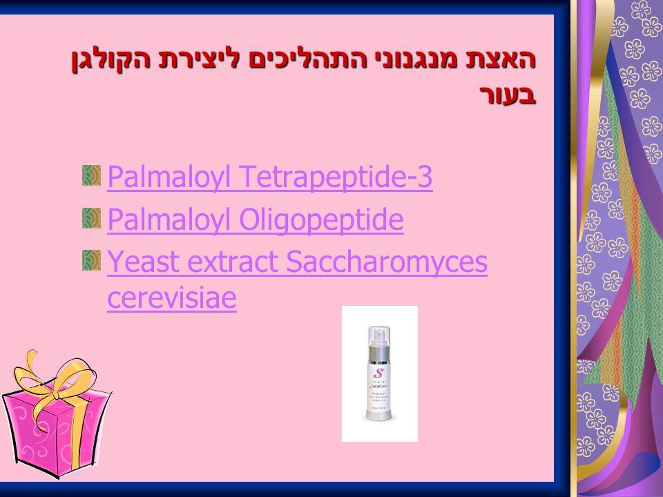 האצת מנגנוני התהליכים ליצירת הקולגן בעור Palmaloyl Tetrapeptide-3 Palmaloyl Oligopeptide Yeast extract Saccharomyces cerevisiae