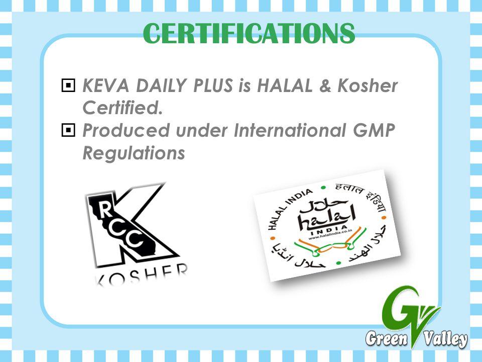 KEVA DAILY PLUS is HALAL & Kosher Certified.