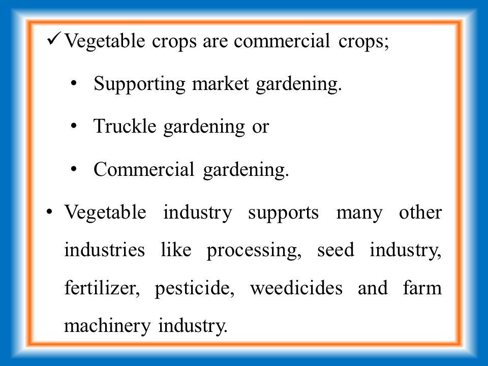 Vegetable crops are commercial crops; Supporting market gardening.