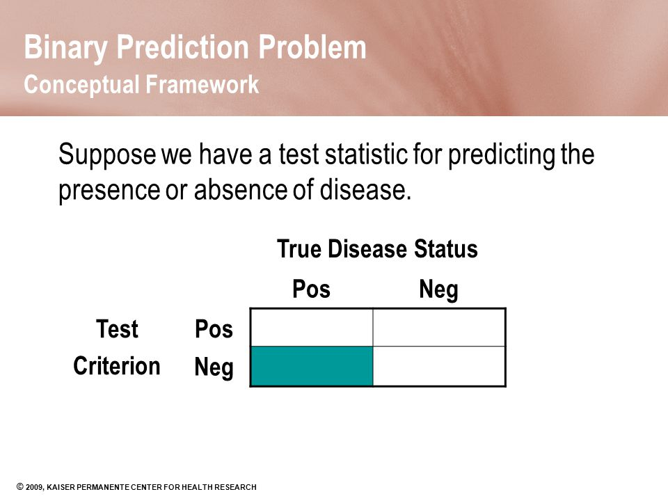© 2009, KAISER PERMANENTE CENTER FOR HEALTH RESEARCH Binary Prediction Problem Conceptual Framework Suppose we have a test statistic for predicting th
