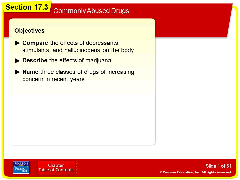 Section 17.3 Commonly Abused Drugs Slide 32 of 31 End of Section 17.3 Click on this slide to end this presentation.