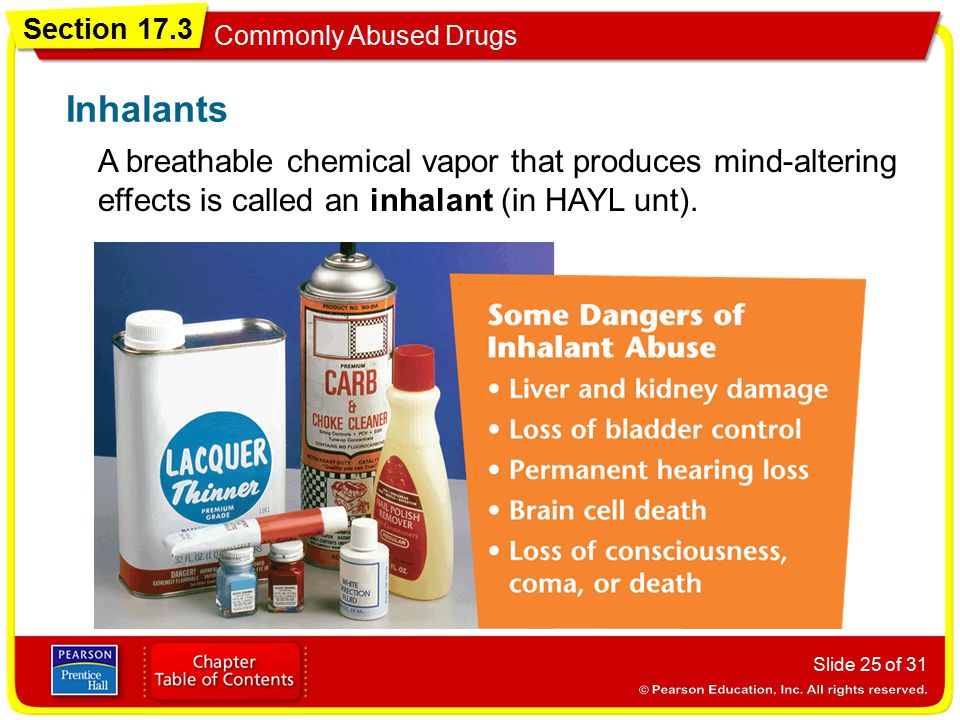 Section 17.3 Commonly Abused Drugs Slide 25 of 31 A breathable chemical vapor that produces mind-altering effects is called an inhalant (in HAYL unt).