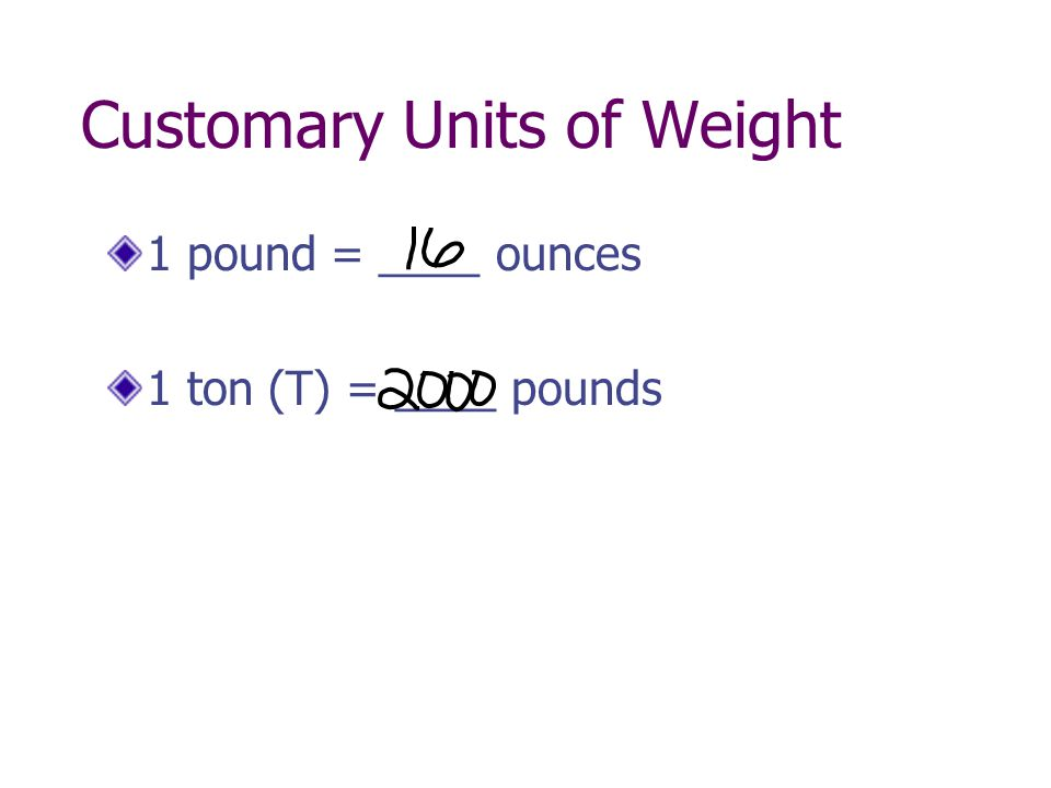 Customary Units of Weight 1 pound = ____ ounces 1 ton (T) = ____ pounds