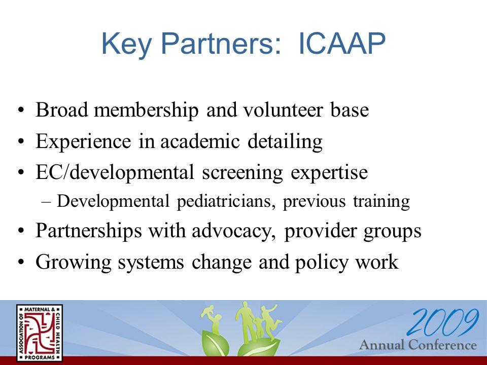 Key Partners: ICAAP Broad membership and volunteer base Experience in academic detailing EC/developmental screening expertise –Developmental pediatric