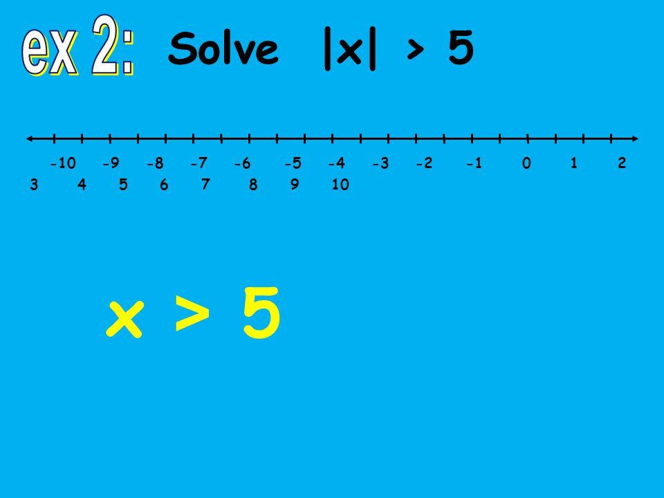 -10 -9 -8 -7 -6 -5 -4 -3 -2 -1 0 1 2 3 4 5 6 7 8 9 10 Solve |x| > 5 x > 5