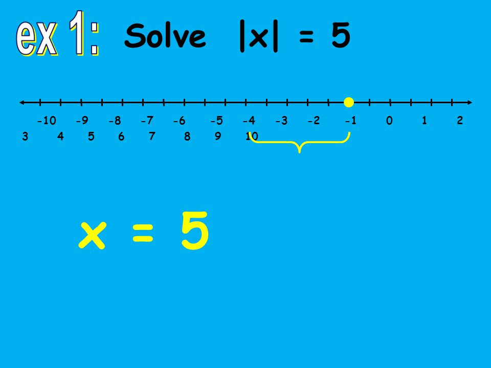 Solve |x|  5 -10 -9 -8 -7 -6 -5 -4 -3 -2 -1 0 1 2 3 4 5 6 7 8 9 10 x  5 and x  –5