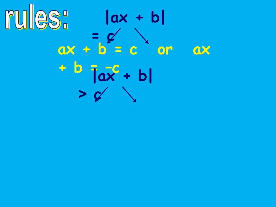 |ax + b| = c ax + b = c or ax + b = –c |ax + b| > c