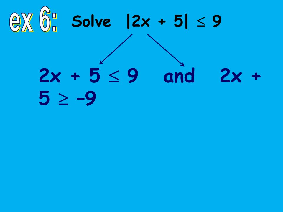 2x + 5  9 and 2x + 5  –9