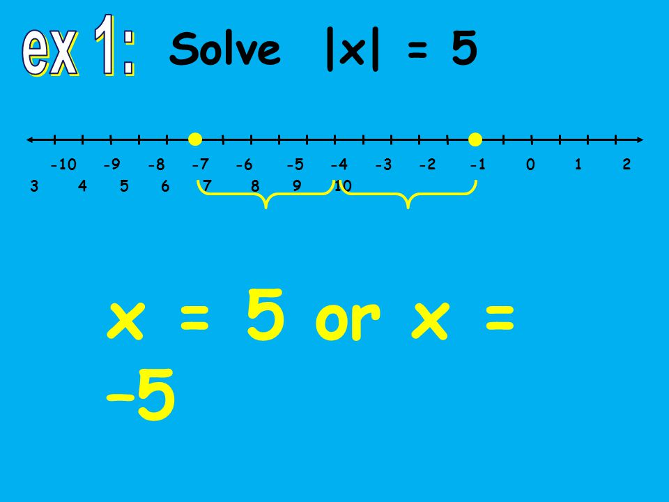 -10 -9 -8 -7 -6 -5 -4 -3 -2 -1 0 1 2 3 4 5 6 7 8 9 10 Solve |x| = 5 x = 5 or x = –5