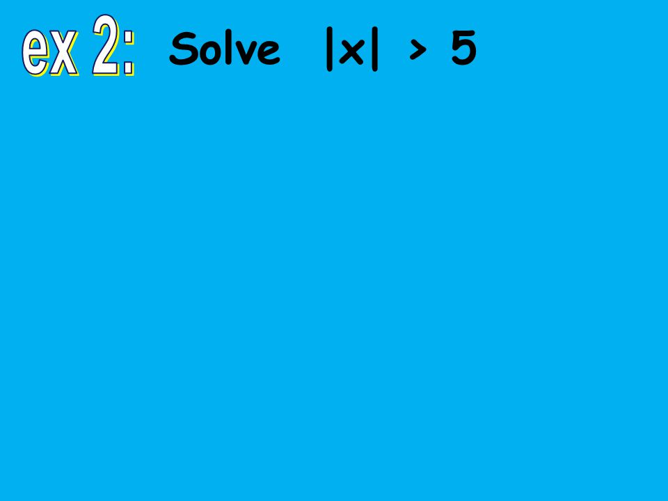 Solve |4x – 3| + 7 > 20 |4x – 3| > 13 4x – 3 > 13 or 4x – 3 < –13 4x > 16 or 4x < –10 x > 4 or x < – -10 -9 -8 -7 -6 -5 -4 -3 -2 -1 0 1 2 3 4 5 6 7 8 9 10