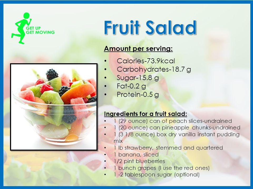 Calories-129kcal Carbohydrates-32.4g Sugar-26.5g Fat-0.3g Protein-0.9g Amount per glass: 2 oz pineapple juice 2 oz mango juice 1 oz orange juice 1 oz passion-fruit juice 1/3 mashed banana Ingredients needed: