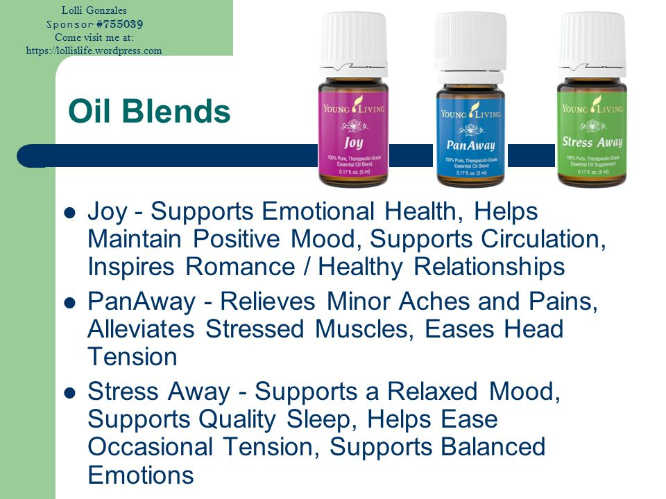 Lolli Gonzales Sponsor #755039 Come visit me at: https://lollislife.wordpress.com Oil Blends Joy - Supports Emotional Health, Helps Maintain Positive