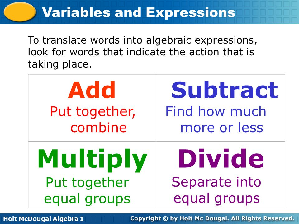 Holt McDougal Algebra 1 Variables and Expressions To translate words into algebraic expressions, look for words that indicate the action that is takin