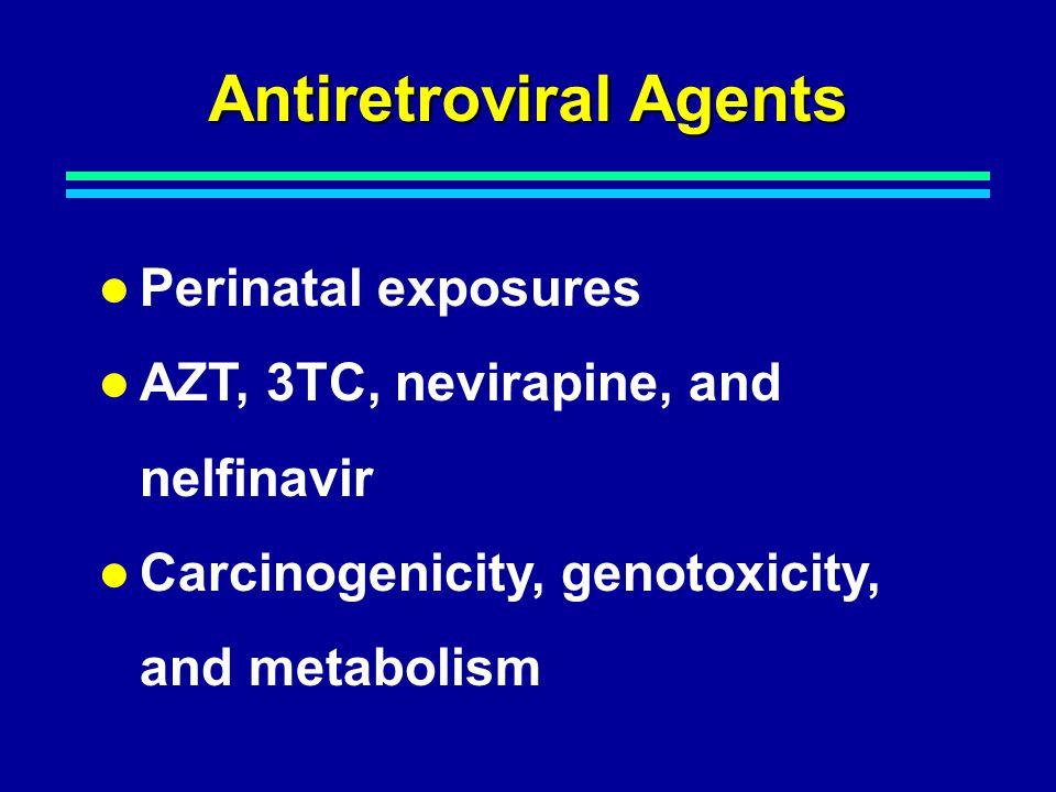 Antiretroviral Agents Perinatal exposures AZT, 3TC, nevirapine, and nelfinavir Carcinogenicity, genotoxicity, and metabolism