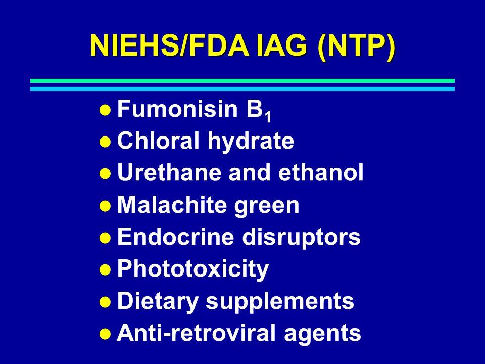 NIEHS/FDA IAG (NTP) Fumonisin B 1 Chloral hydrate Urethane and ethanol Malachite green Endocrine disruptors Phototoxicity Dietary supplements Anti-retroviral agents