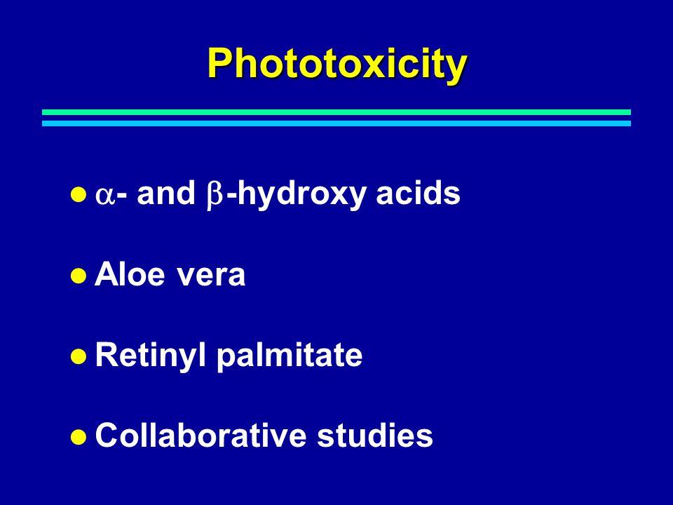 Phototoxicity  - and  -hydroxy acids Aloe vera Retinyl palmitate Collaborative studies