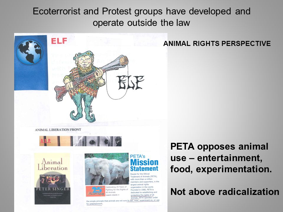 Ecoterrorist and Protest groups have developed and operate outside the law ANIMAL RIGHTS PERSPECTIVE PETA opposes animal use – entertainment, food, experimentation.