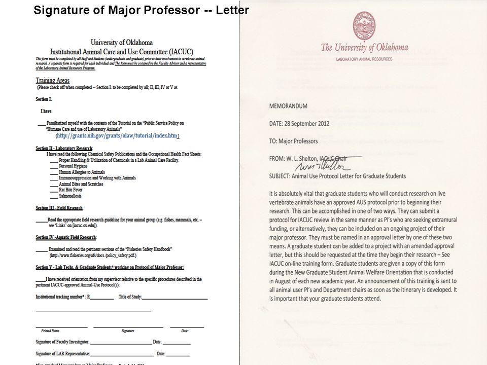 Signature of Major Professor -- Letter