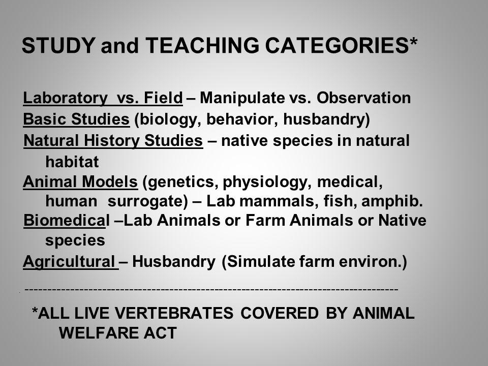 STUDY and TEACHING CATEGORIES* Laboratory vs. Field – Manipulate vs.