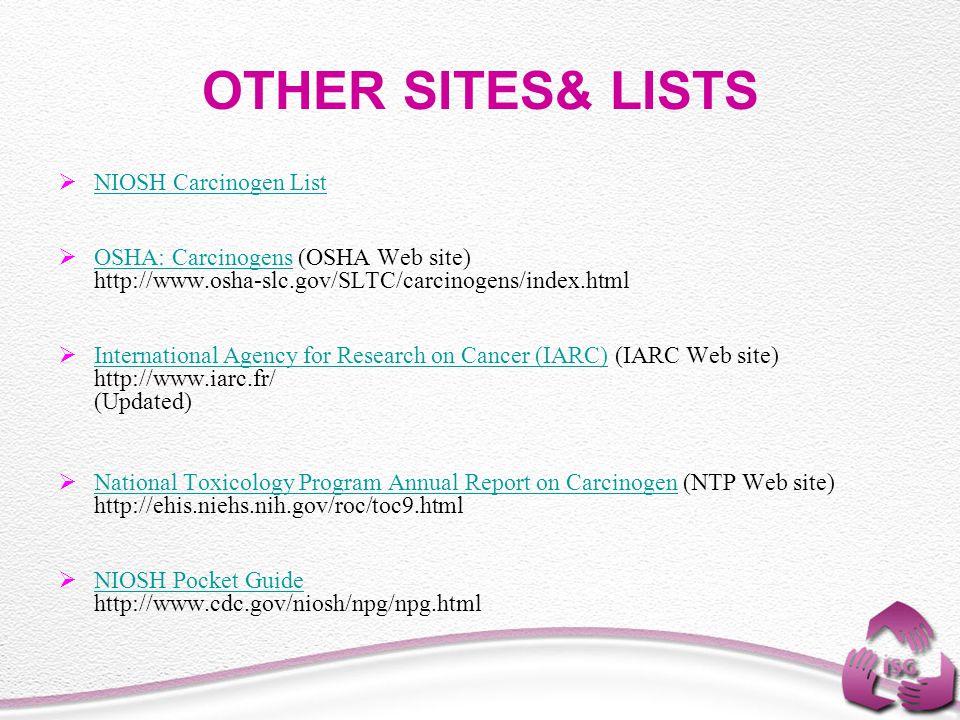 OTHER SITES& LISTS  NIOSH Carcinogen List NIOSH Carcinogen List  OSHA: Carcinogens (OSHA Web site) http://www.osha-slc.gov/SLTC/carcinogens/index.html OSHA: Carcinogens  International Agency for Research on Cancer (IARC) (IARC Web site) http://www.iarc.fr/ (Updated) International Agency for Research on Cancer (IARC)  National Toxicology Program Annual Report on Carcinogen (NTP Web site) http://ehis.niehs.nih.gov/roc/toc9.html National Toxicology Program Annual Report on Carcinogen  NIOSH Pocket Guide http://www.cdc.gov/niosh/npg/npg.html NIOSH Pocket Guide