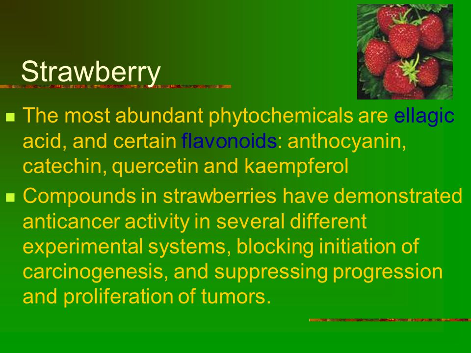 Strawberry The most abundant phytochemicals are ellagic acid, and certain flavonoids: anthocyanin, catechin, quercetin and kaempferol Compounds in strawberries have demonstrated anticancer activity in several different experimental systems, blocking initiation of carcinogenesis, and suppressing progression and proliferation of tumors.