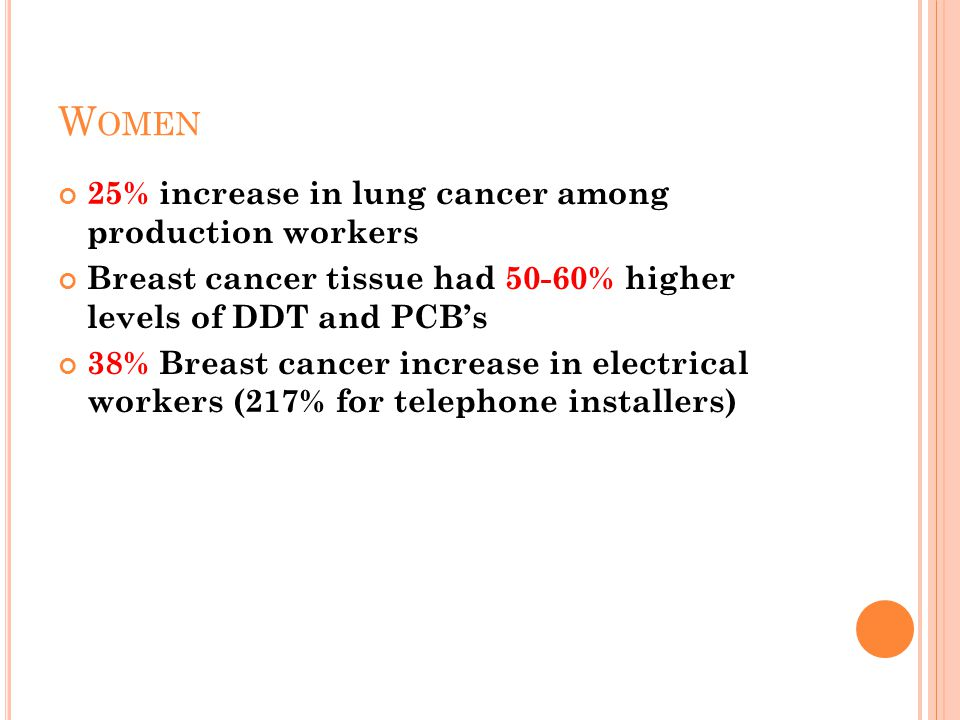 W OMEN 25% increase in lung cancer among production workers Breast cancer tissue had 50-60% higher levels of DDT and PCB's 38% Breast cancer increase in electrical workers (217% for telephone installers)