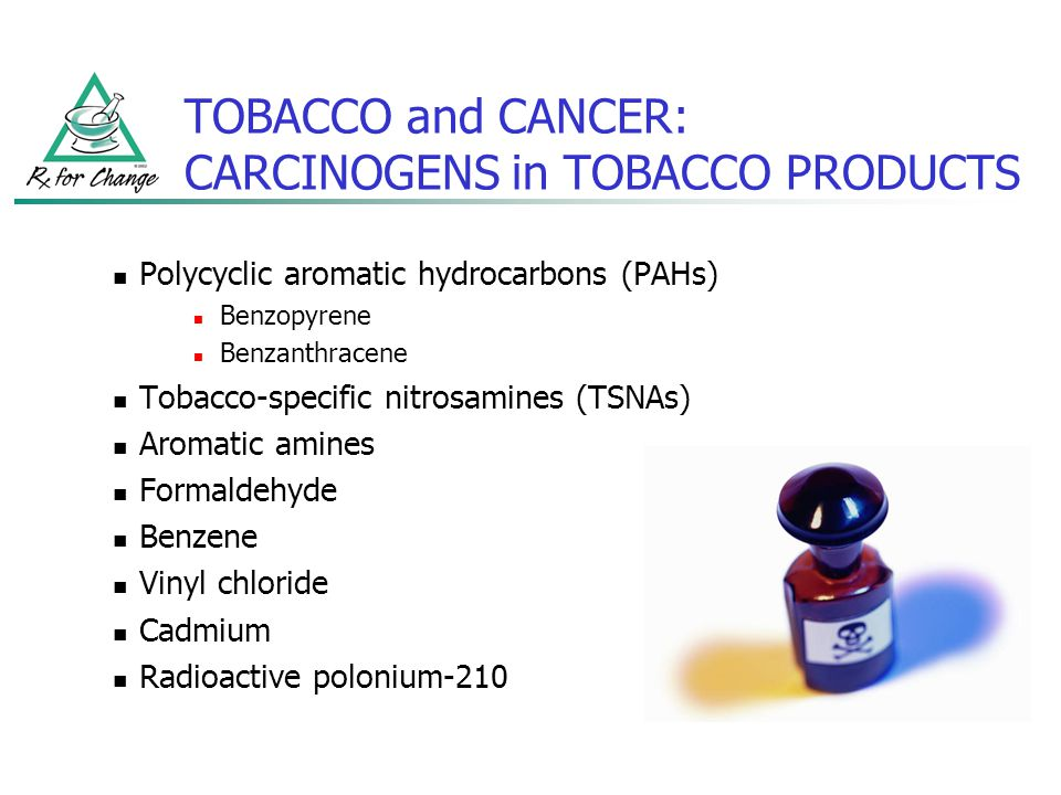 TOBACCO and CANCER: CARCINOGENS (cont'd) Cancer siteLikely carcinogen(s) Lung PAHs, nitrosamines, aldehydes, benzene, heavy metals LarynxPAHs Oral cavityNitrosamines EsophagusNitrosamines PancreasNitrosamines CervixPAHs, nitrosamines Bladder/kidneyAromatic amines Bone marrow (AML)Benzene Adapted from Hecht.