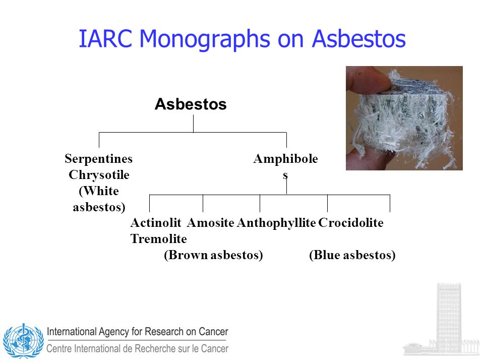 IARC Monographs on Asbestos Serpentines Chrysotile (White asbestos) Amphibole s Actinolit Amosite Anthophyllite Crocidolite Tremolite (Brown asbestos) (Blue asbestos) Asbestos