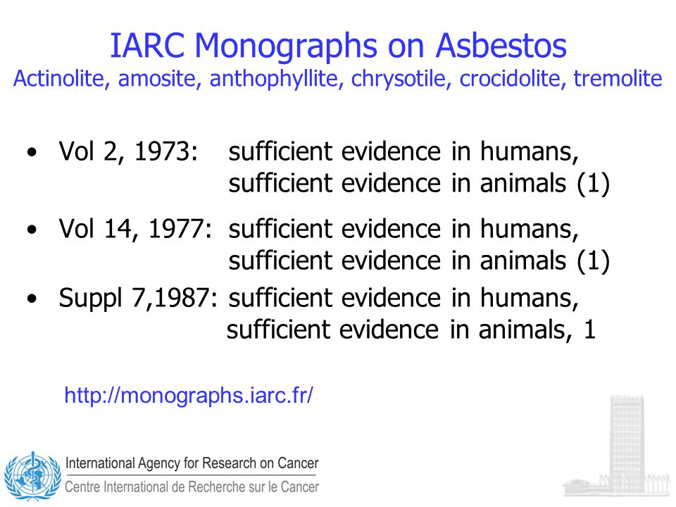 IARC Monographs on Asbestos Actinolite, amosite, anthophyllite, chrysotile, crocidolite, tremolite Vol 2, 1973:sufficient evidence in humans, sufficient evidence in animals (1) Vol 14, 1977: sufficient evidence in humans, sufficient evidence in animals (1) Suppl 7,1987: sufficient evidence in humans, sufficient evidence in animals, 1 http://monographs.iarc.fr/