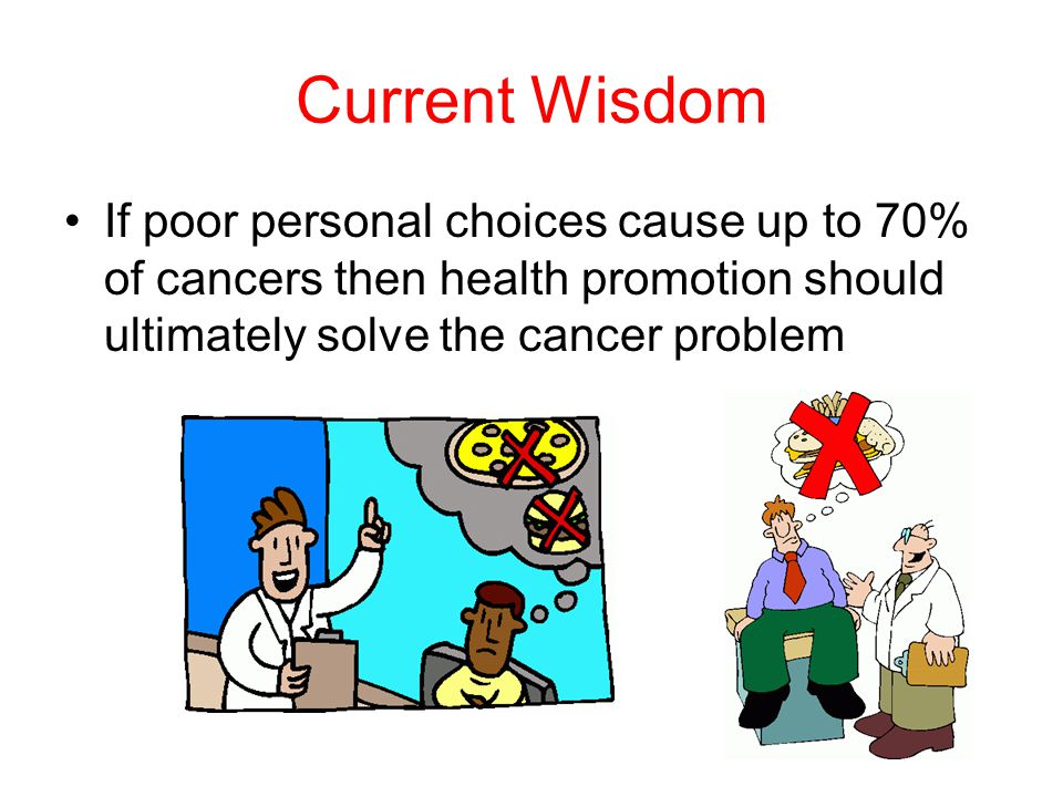 Current Wisdom If poor personal choices cause up to 70% of cancers then health promotion should ultimately solve the cancer problem