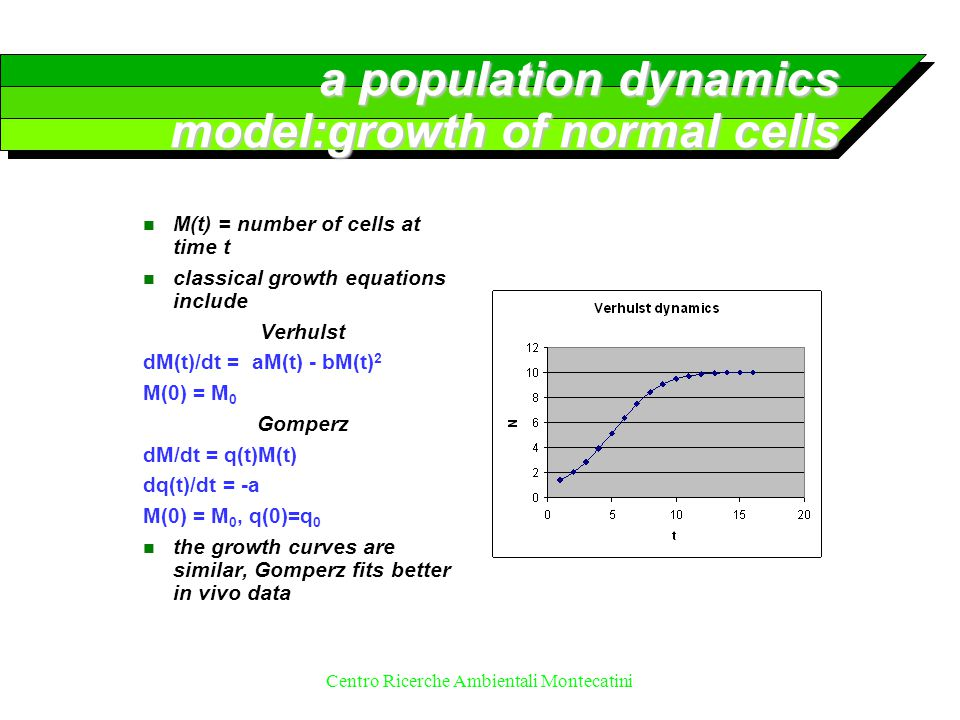 Centro Ricerche Ambientali Montecatini a population dynamics model:growth of normal cells n M(t) = number of cells at time t n classical growth equati