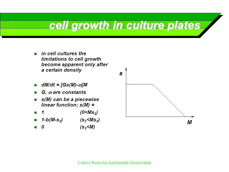 Centro Ricerche Ambientali Montecatini cell growth in culture plates n in cell cultures the limitations to cell growth become apparent only after a ce