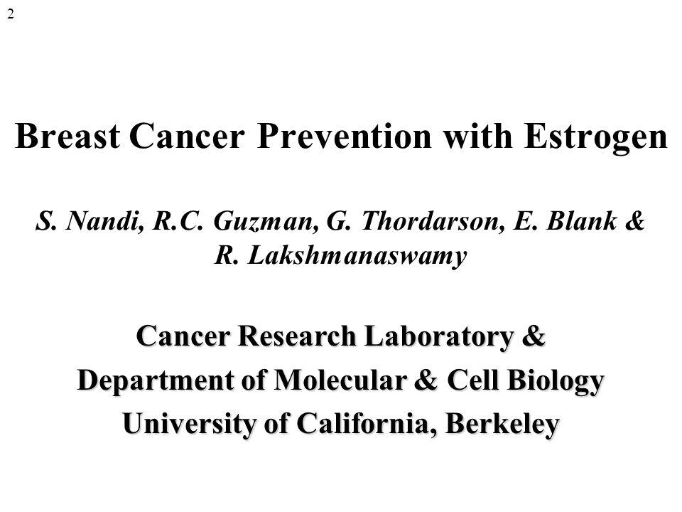 Breast Cancer Prevention with Estrogen S. Nandi, R.C.