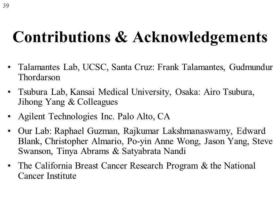 Contributions & Acknowledgements Talamantes Lab, UCSC, Santa Cruz: Frank Talamantes, Gudmundur Thordarson Tsubura Lab, Kansai Medical University, Osaka: Airo Tsubura, Jihong Yang & Colleagues Agilent Technologies Inc.