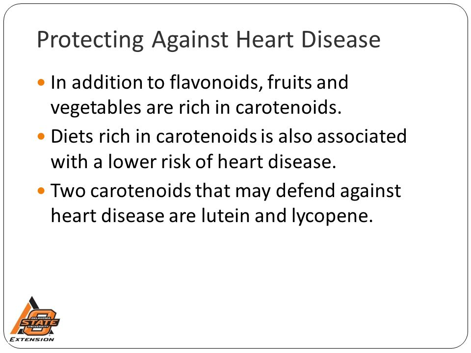 Protecting Against Heart Disease In addition to flavonoids, fruits and vegetables are rich in carotenoids. Diets rich in carotenoids is also associate