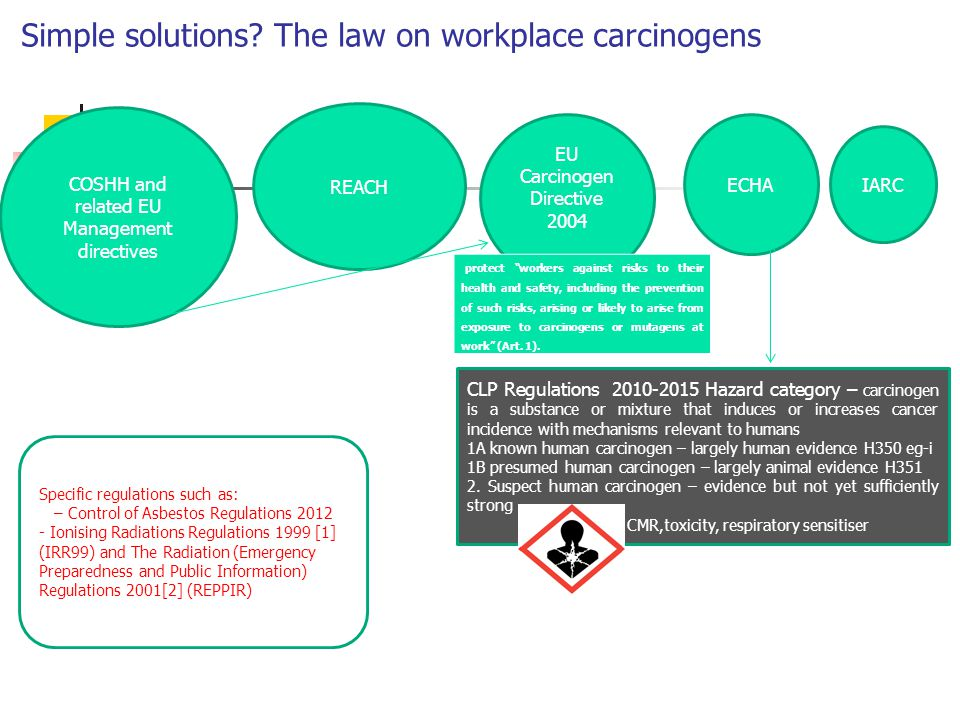 "Simple solutions? The law on workplace carcinogens COSHH and related EU Management directives REACH EU Carcinogen Directive 2004 protect ""workers agai"