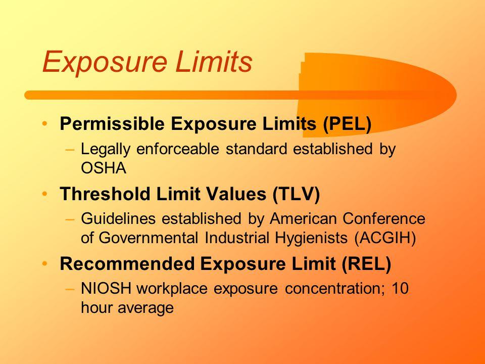 Exposure Limits Permissible Exposure Limits (PEL) –Legally enforceable standard established by OSHA Threshold Limit Values (TLV) –Guidelines establish