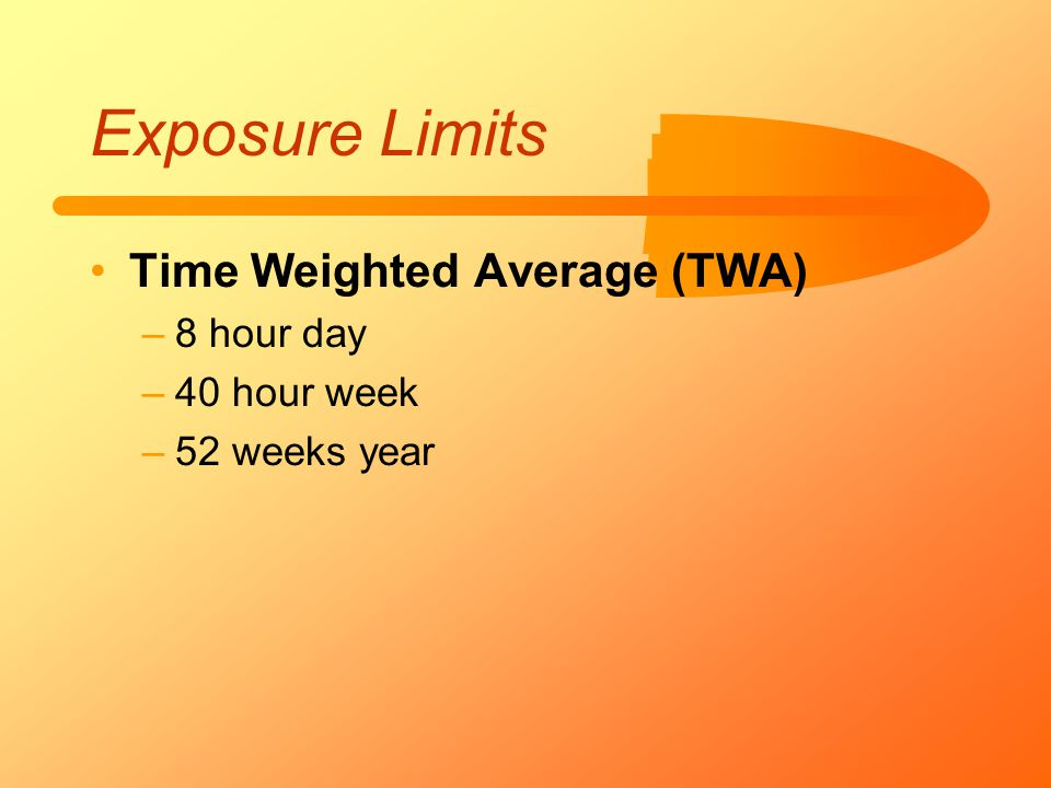 Exposure Limits Time Weighted Average (TWA) –8 hour day –40 hour week –52 weeks year