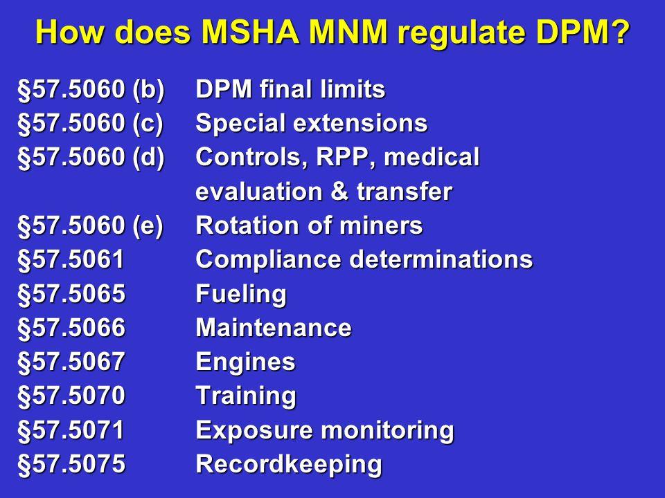 How does MSHA MNM regulate DPM? §57.5060 (b)DPM final limits §57.5060 (b)DPM final limits §57.5060 (c)Special extensions §57.5060 (c)Special extension