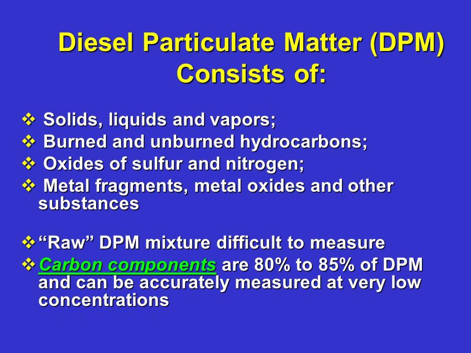 Diesel Particulate Matter (DPM) Consists of: v Solids, liquids and vapors; v Burned and unburned hydrocarbons; v Oxides of sulfur and nitrogen; v Meta