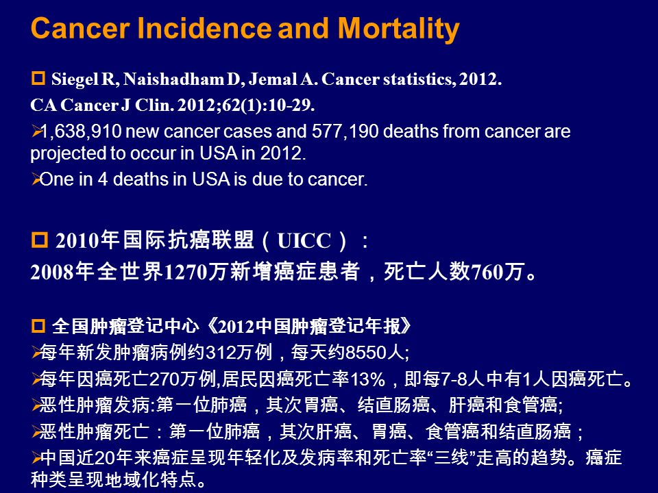 3 Cancer Incidence and Mortality  Siegel R, Naishadham D, Jemal A. Cancer statistics, 2012. CA Cancer J Clin. 2012;62(1):10-29.  1,638,910 new cance