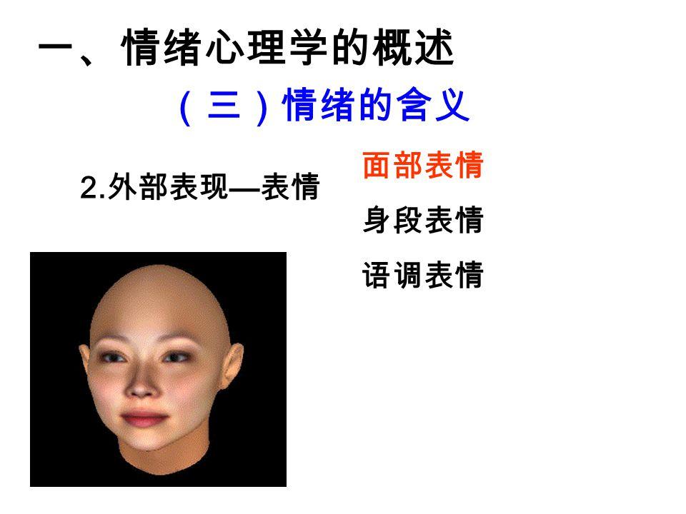 一、情绪心理学的概述 (三)情绪的含义 2. 外部表现 — 表情 面部表情 身段表情 语调表情