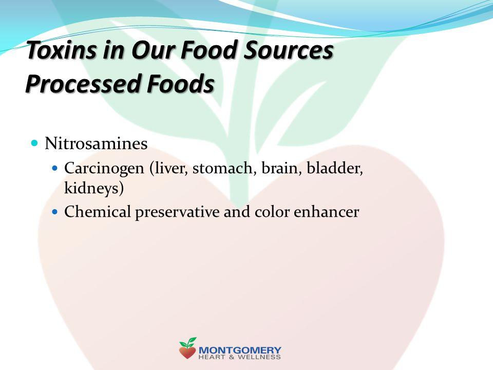 Toxins in Our Food Sources Processed Foods Nitrosamines Carcinogen (liver, stomach, brain, bladder, kidneys) Chemical preservative and color enhancer