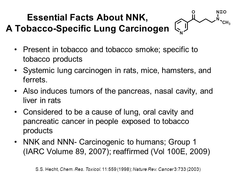 Essential Facts About NNK, A Tobacco-Specific Lung Carcinogen Present in tobacco and tobacco smoke; specific to tobacco products Systemic lung carcinogen in rats, mice, hamsters, and ferrets.