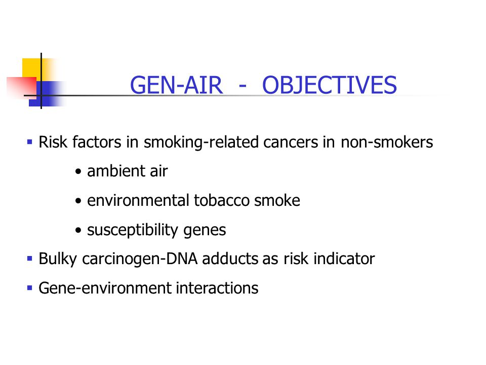 GEN-AIR - OBJECTIVES  Risk factors in smoking-related cancers in non-smokers ambient air environmental tobacco smoke susceptibility genes  Bulky carcinogen-DNA adducts as risk indicator  Gene-environment interactions