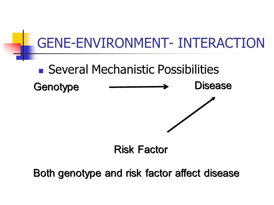 Several Mechanistic Possibilities GENE-ENVIRONMENT- INTERACTION Risk Factor Genotype Disease Risk factor alters gene/disease association