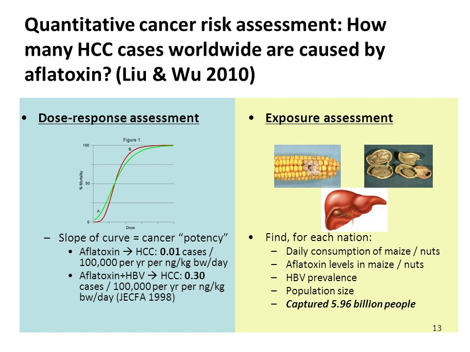 Quantitative cancer risk assessment: How many HCC cases worldwide are caused by aflatoxin.