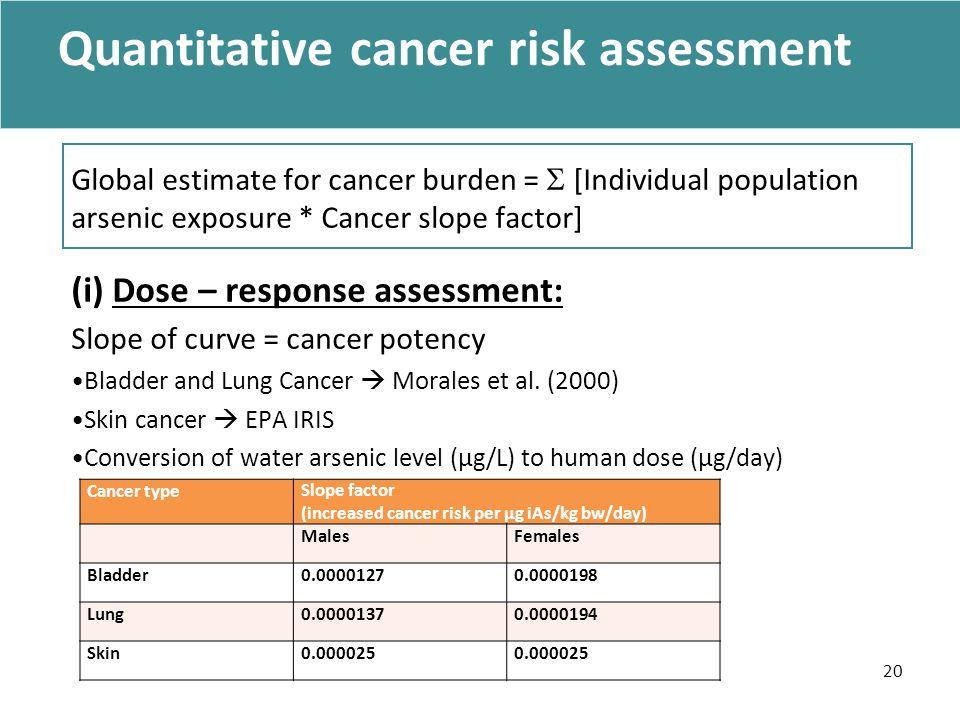 Quantitative cancer risk assessment Global estimate for cancer burden =  [Individual population arsenic exposure * Cancer slope factor] (i) Dose – response assessment: Slope of curve = cancer potency Bladder and Lung Cancer  Morales et al.